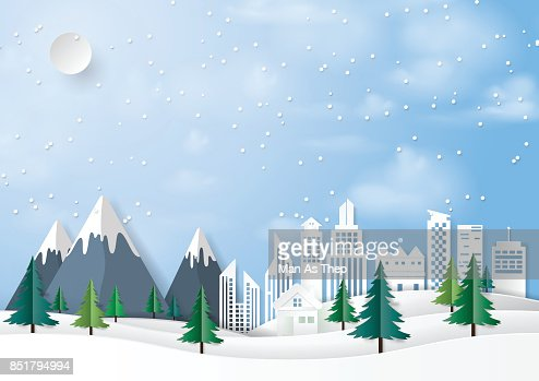 Winter urban landscape paper art background : Vector Art
