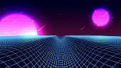 Wireframe background landscape. 1980s retro wave style. Sci-Fi futuristic vector illustration with a starfall