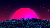 Wireframe background landscape. 1980s retro wave style. Sci-Fi futuristic vector illustration of sunrise or sunset
