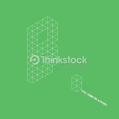 wireframe pixel isometric alphabet letter a : stock vector
