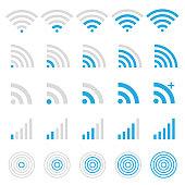 Wireless technology, wi-fi web icon set