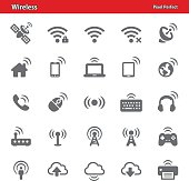 Professional, pixel perfect icons depicting various wireless technology concepts.