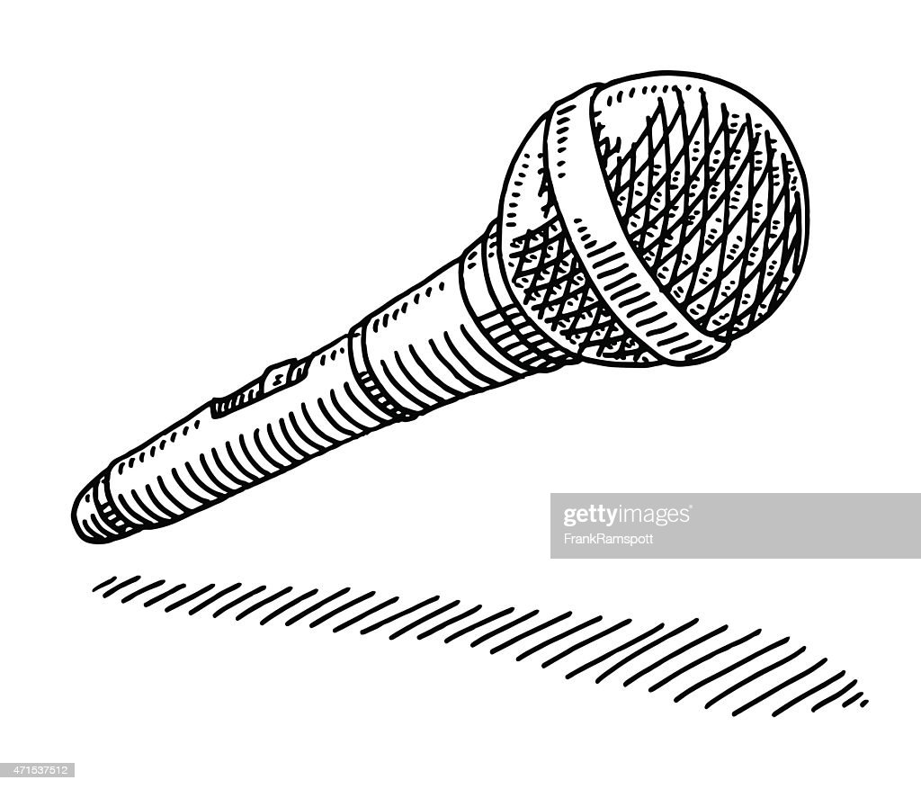 wireless microphone drawing vector art