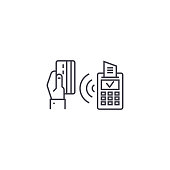 wireless payment vector line icon, sign, illustration on white background, editable strokes