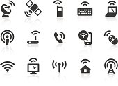 Monochromatic wireless technology related vector icons for your design and application. Raw style. Files included: vector EPS, JPG, PNG.