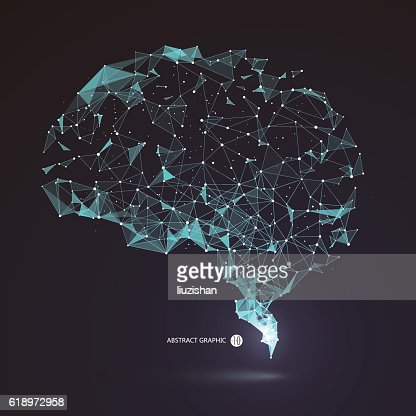 Wires from the point of brain graphics, vector illustration. : stock vector