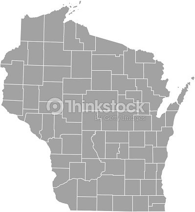 Wisconsin County Map Vector Outline stock vector - Thinkstock