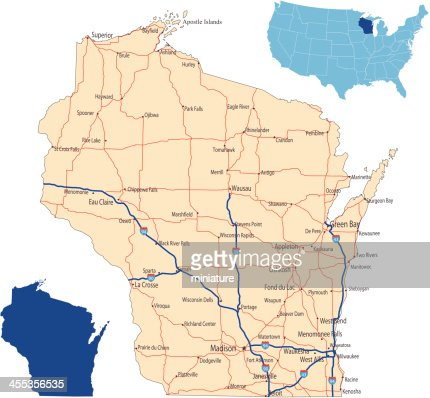 Wisconsin County Map Vector Art Getty Images - Road map of wisconsin
