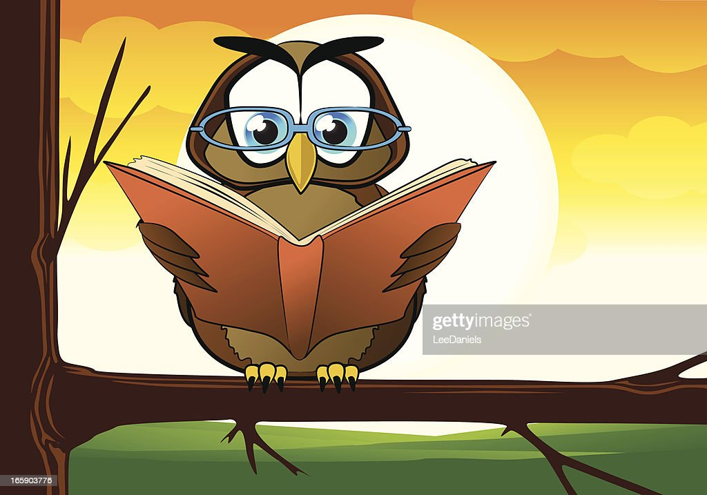 Wise Owl Reading In A Tree Vector Art | Getty Images