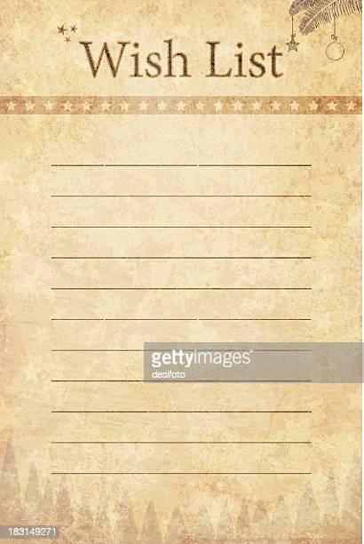 La liste de souhaits papier