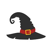 Witch black hat flat icon isolated on white background