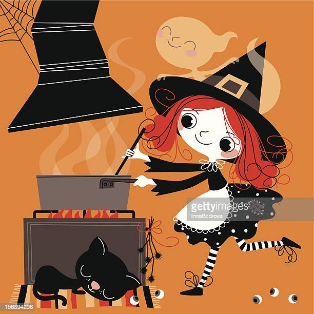 Witch cooking meal.