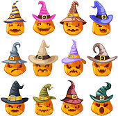 Witch hat decoration halloween jack o lantern pumpkin scary faces smile emoji set icons isolated cartoon design vector illustration