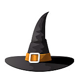 Witch Hat of Halloween is isolated on white background
