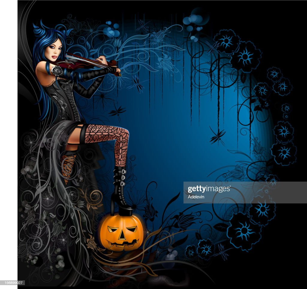 Witch playing on the violin : Vector Art