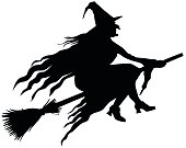 Silhouette of a wicked witch vector illustration.