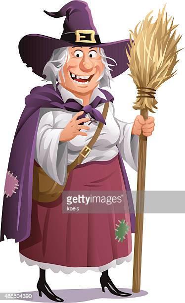 Hexe mit einem Besen