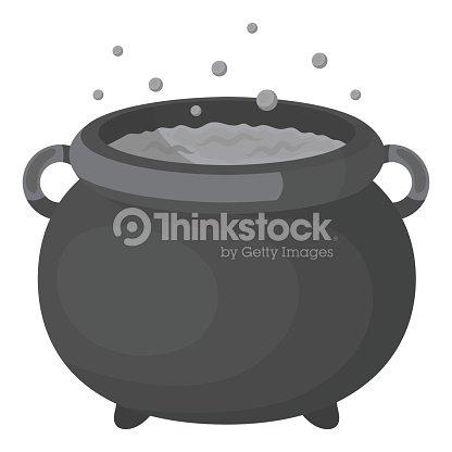 Witchs Cauldron Icon In Monochrome Style Isolated On White ...