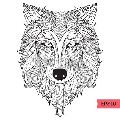 wolf coloring page vector art