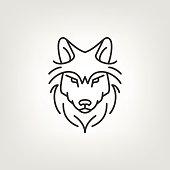 Wolf head logo icon design in mono line style. Dark on light background.