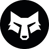 Wolf head in circle for logotype