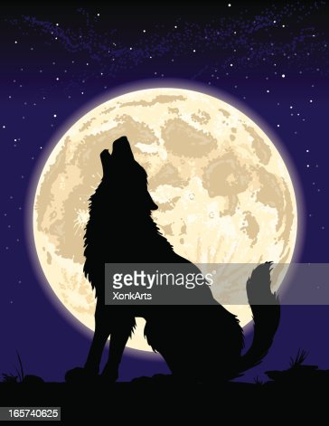 Black wolf howling at moon - photo#27