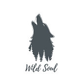 Wolf howling. Brochure poster or logo template. Vector illustration.