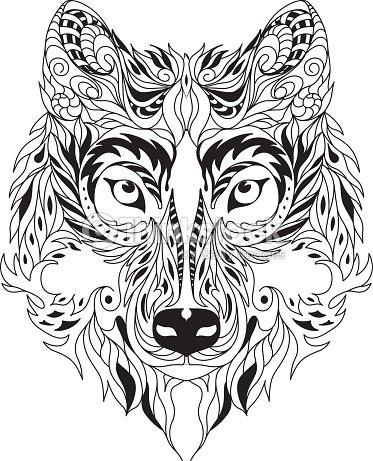 Round Eltic Wolf Tiger Tattoo Design