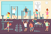 Woman and man doing various sports exercises in gym. Fitness indoor workout vector concept. Gym and fitness sport training, woman man workout or exercise illustration