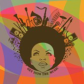 Illustration of African American young woman portrait with musical instruments on colorful geometric background. Music creative concept