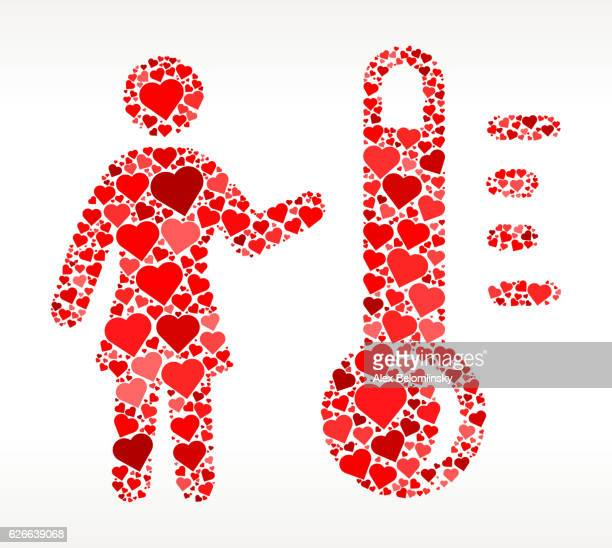 Woman and Thermometer Red Hearts Love Pattern