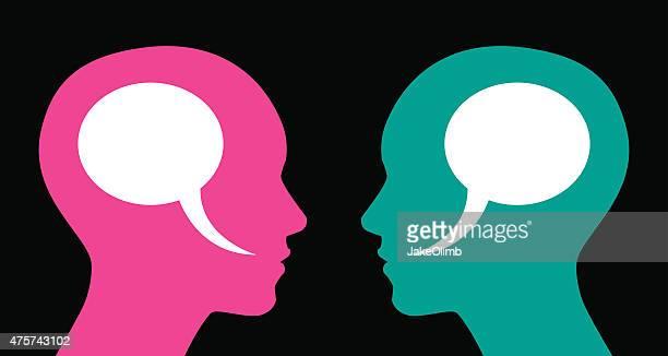 Frau und Frau Sprechblasen