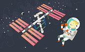 Woman astronaut in outer space is taking pictures of the space station, the moon and constellations of stars in the background. Vector illustration