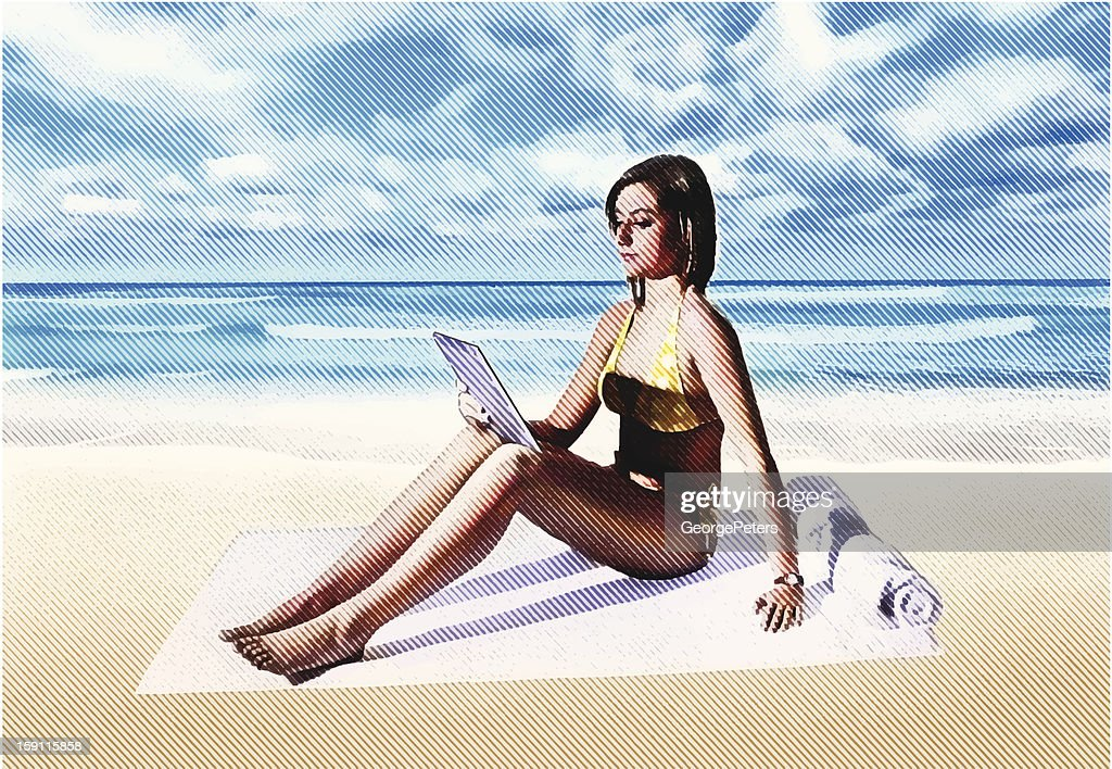 Woman At Beach With Digtal Tablet : Vector Art
