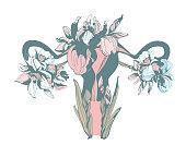 Woman blooming reproductive system uterus hand drawn floral pattern ornament spring flowers iris narcissus. Vector grunge illustration female feminist sisterhood t-shirt print
