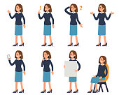 Woman character with different emotions. Flat style vector illustration.