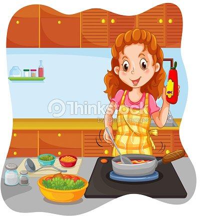 Woman cooking kitchen vector art thinkstock for Cocinar para 40 personas
