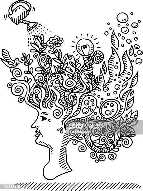 Femme esprit créatif Concept de dessin