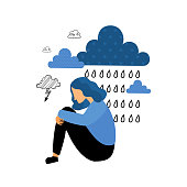 Depression. Sad unhappy young woman sitting under rain cloud. Flat vector illustration.