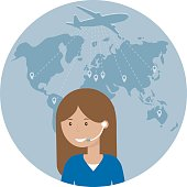 Woman dispatcher on a background map of the world and flying airplane. Travel, air logistics and freight icon. Vector illustration flat design