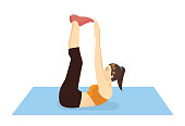 Woman doing Toe Touch Crunches Exercise on blue mat. Illustration about introduction workout posture.