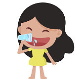 woman drinking a glass of water fresh and healthy smile concept