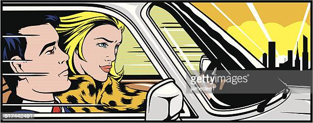 Woman driving a man around
