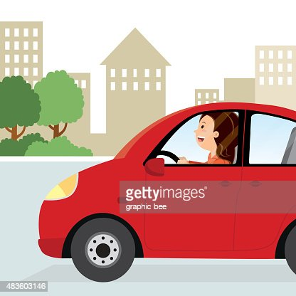 Sign And Drive Lease >> Woman Driving To Work Vector Art | Thinkstock
