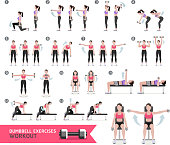 Woman dumbbell workout fitness and exercises.