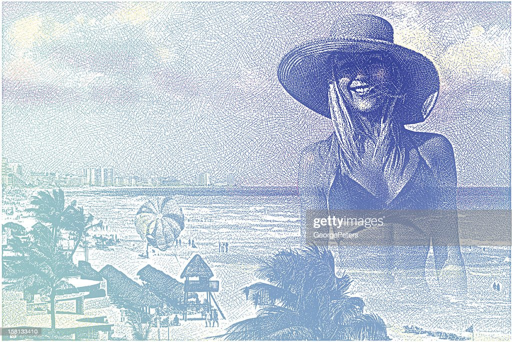 Woman Enjoying Tropical Resort : Vector Art