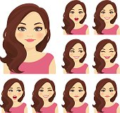 Blond woman with different facial expressions set isolated