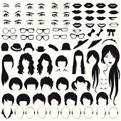 eye, glasses, hat, lips and hair, woman face parts, head character