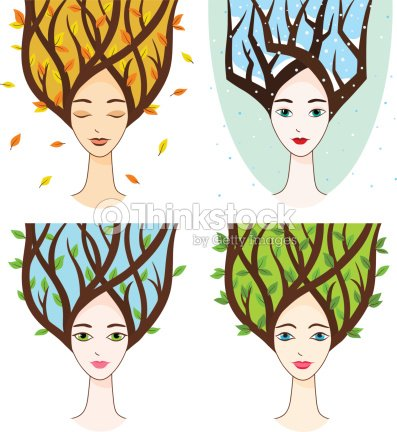 Woman Face With Symbols Of Seasons Vector Art Thinkstock