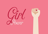 Woman fist hand and inscription Girl power. Vector illustration poster
